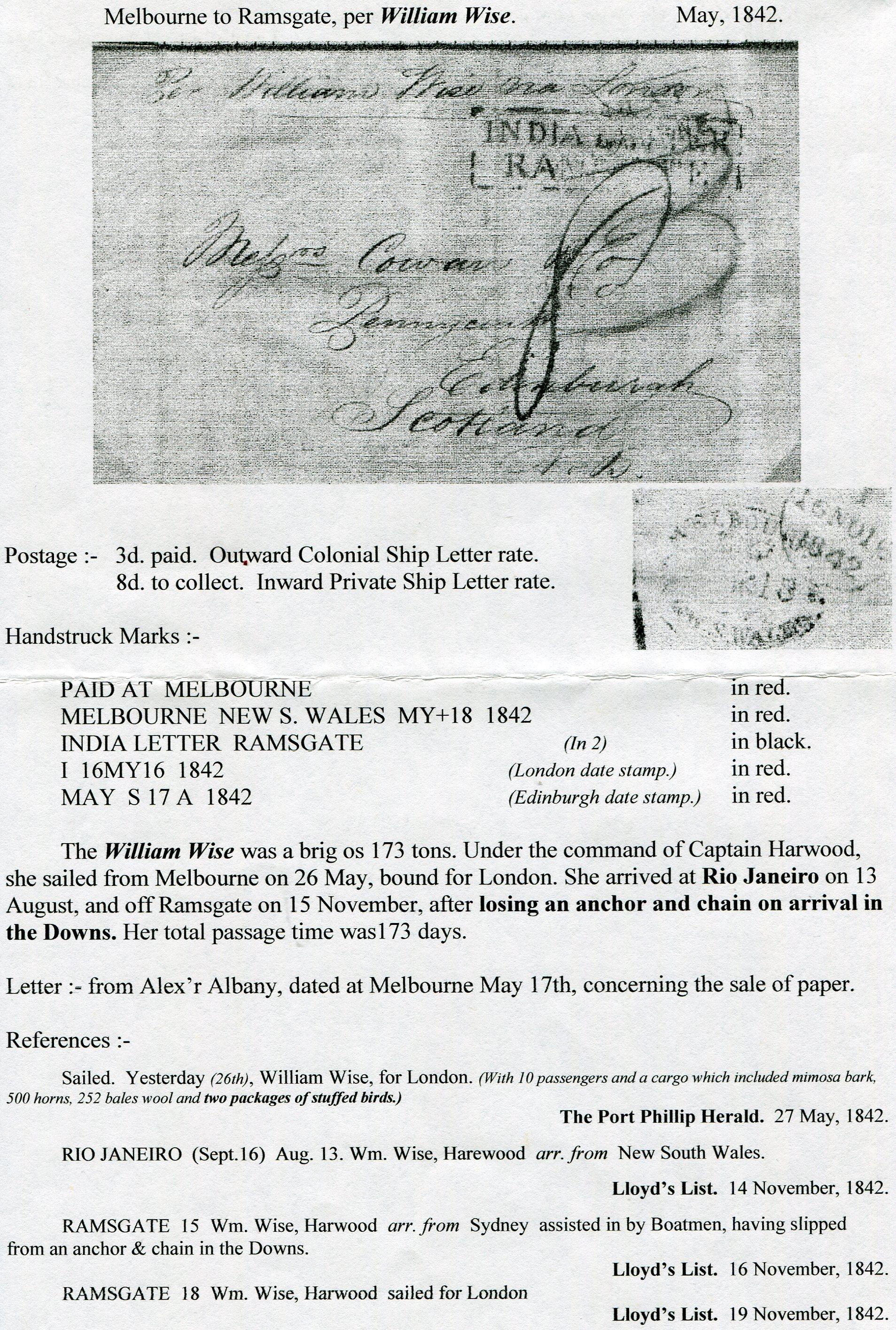17 5 1842 Melbourne Australien Edinburgh Schottland