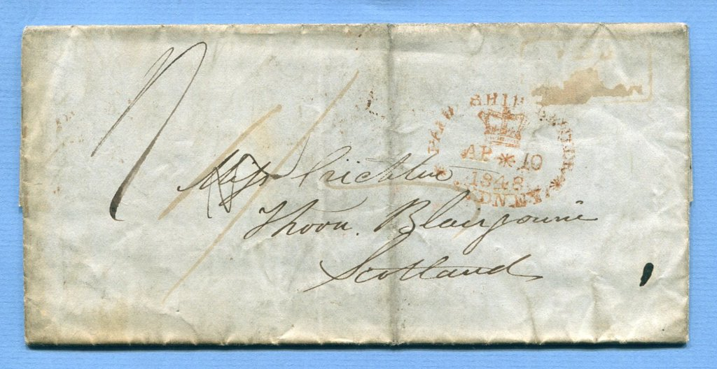 8.4.1848 – Bf. v. Cooma (Australia) => Sydney => Blairgowrie  –  PAID / AT / MARULAN + crown MARULAN NEW S. WALES