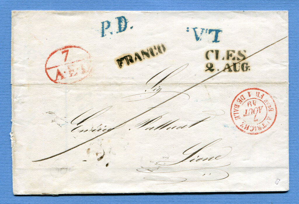 2.8.1849 – CLES => FELDKIRCH => BASEL => HÜNINGEN => LYON – L:A: + P.D. in blau von Feldkirch