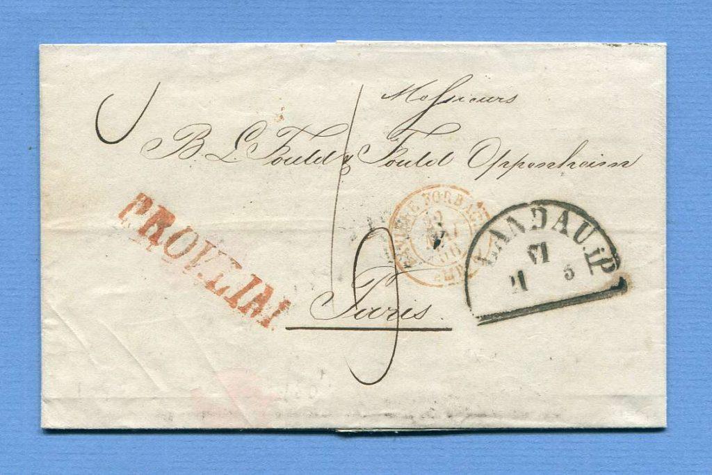 21.5.1856 – Landau (Pfalz) => Forbach => Paris – (L1) PROV. LIM.