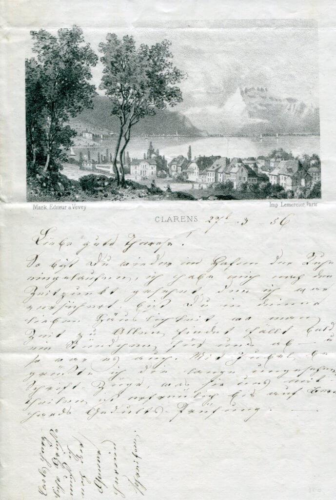 27.3.1856 – Schriftstück mit Stadtansicht von Clarens