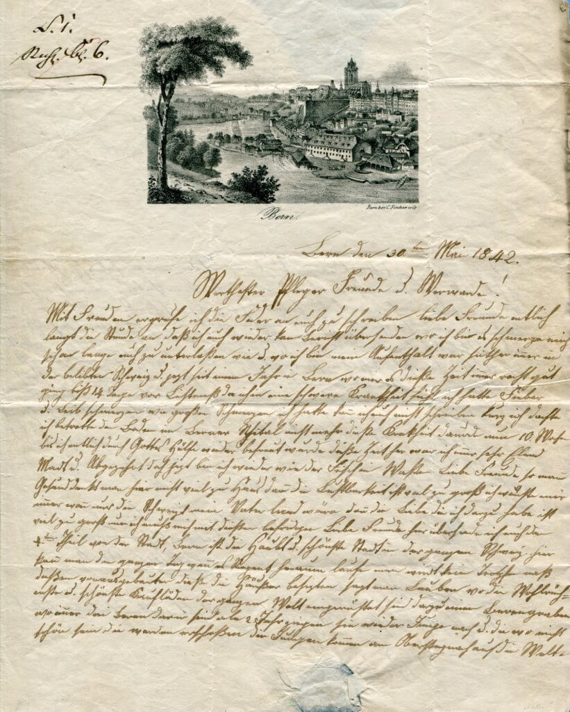 30.5.1842 – Kompl. Brief v. Bern => Sulzbach (Württemberg) – Stich mit Stadtansicht von Bern