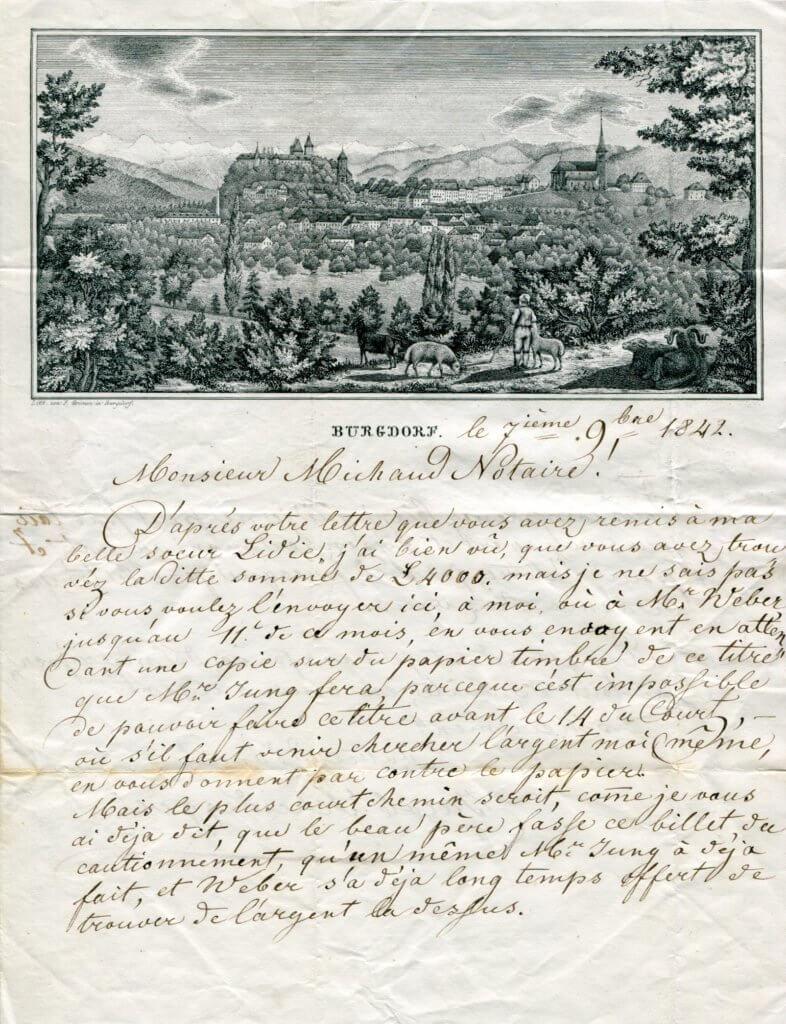 7.11.1842 – Kompl. Brief v. Burgdorf => Orvin b. Biel – Stich mit Stadtansicht von Burgdorf