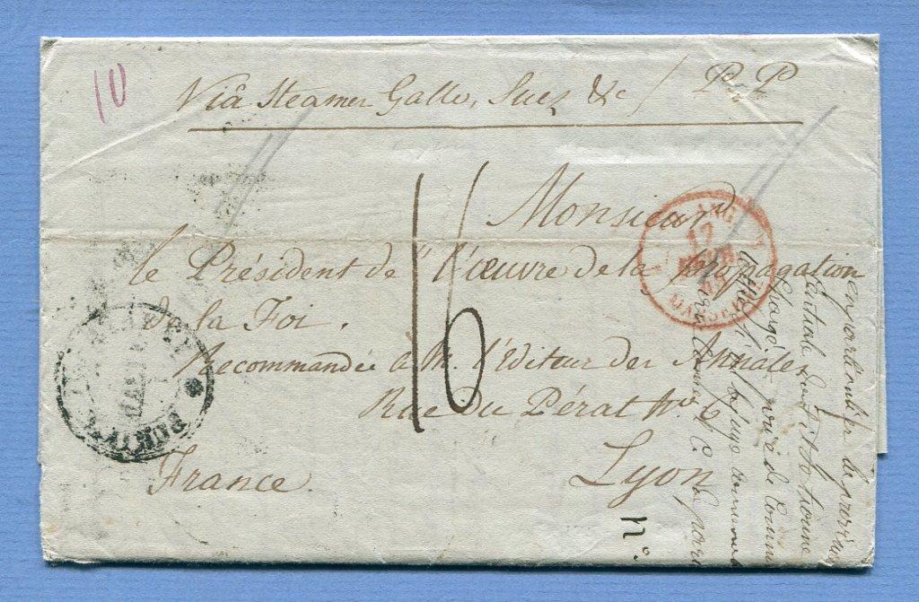14.1.1848 – Bf. v. Kandy (Ceylon) => Suez => Alexandria => Malta => Lyon (Frankreich)  –  KANDY / STEAMER LETTER