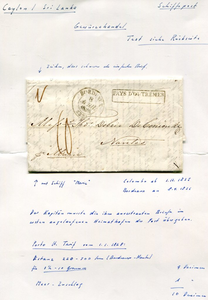 1.12.1835 – Bf. v. Colombo ( Ceylon / Sri Lanka ) => Bordeaux => Nantes (Frankreich)  –  PAYS D'OUTREMER