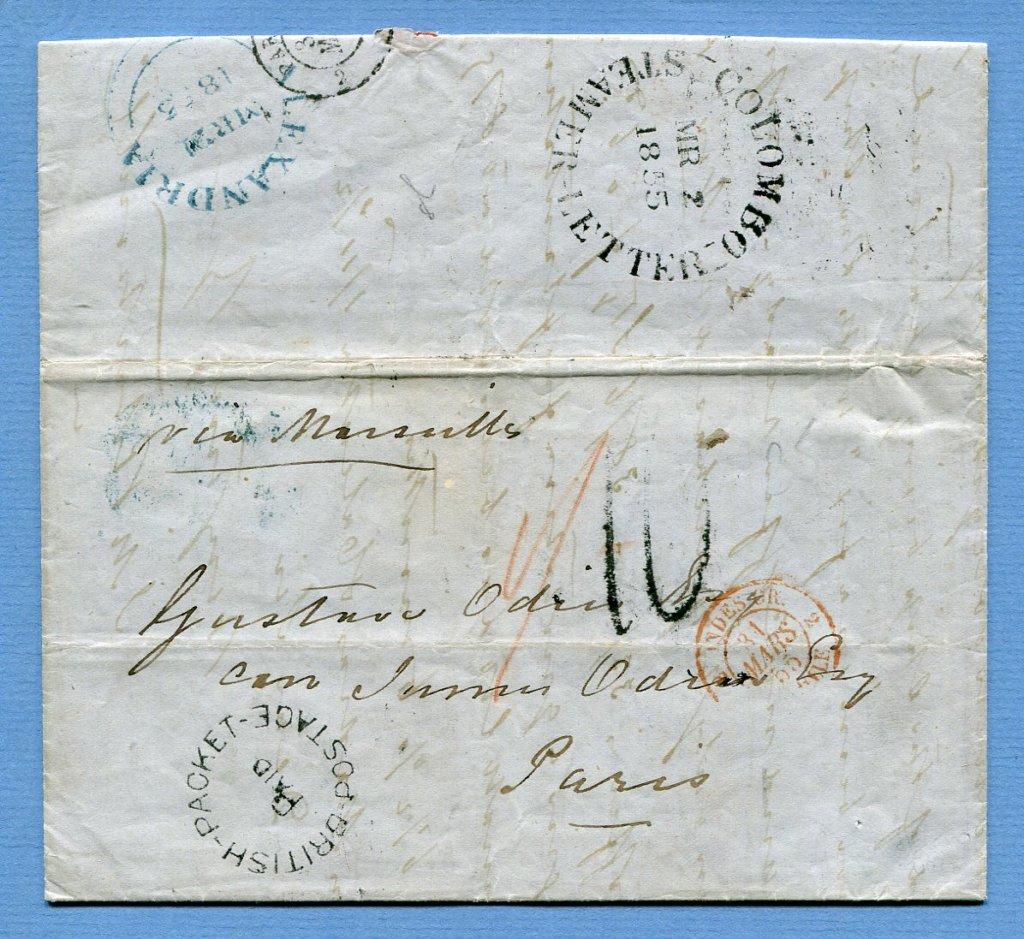 2.3.1855 – Bf. v. Colombo ( Ceylon / Sri Lanka ) => Alexandria => Paris  –  COLOMBO / STEAMER LETTER