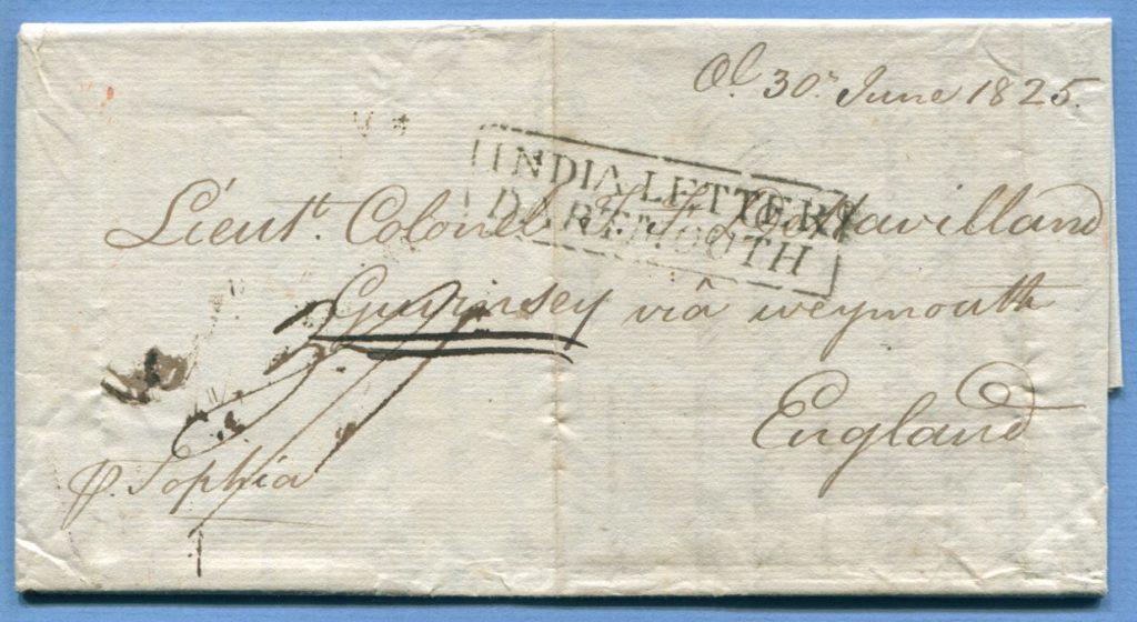30.6.1825 – Madras (Indien) => England => Guernsey – (Ra1) INDIA LETTER / DARTMOUTH