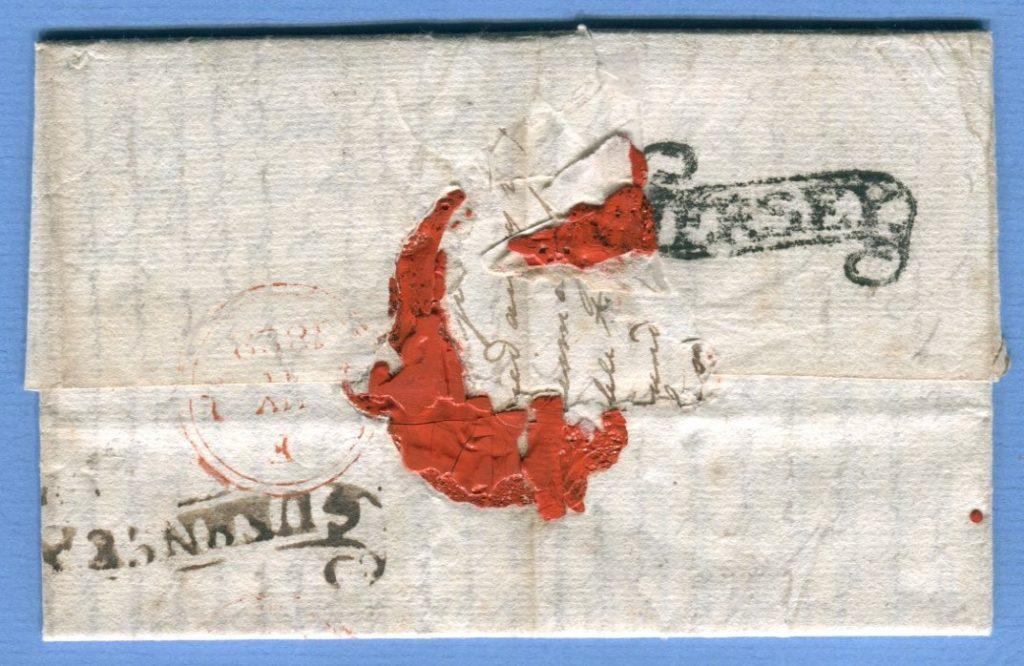 1.5.1828 – Jersey => Guernsey => London – 2x scroll handmarks – RRR