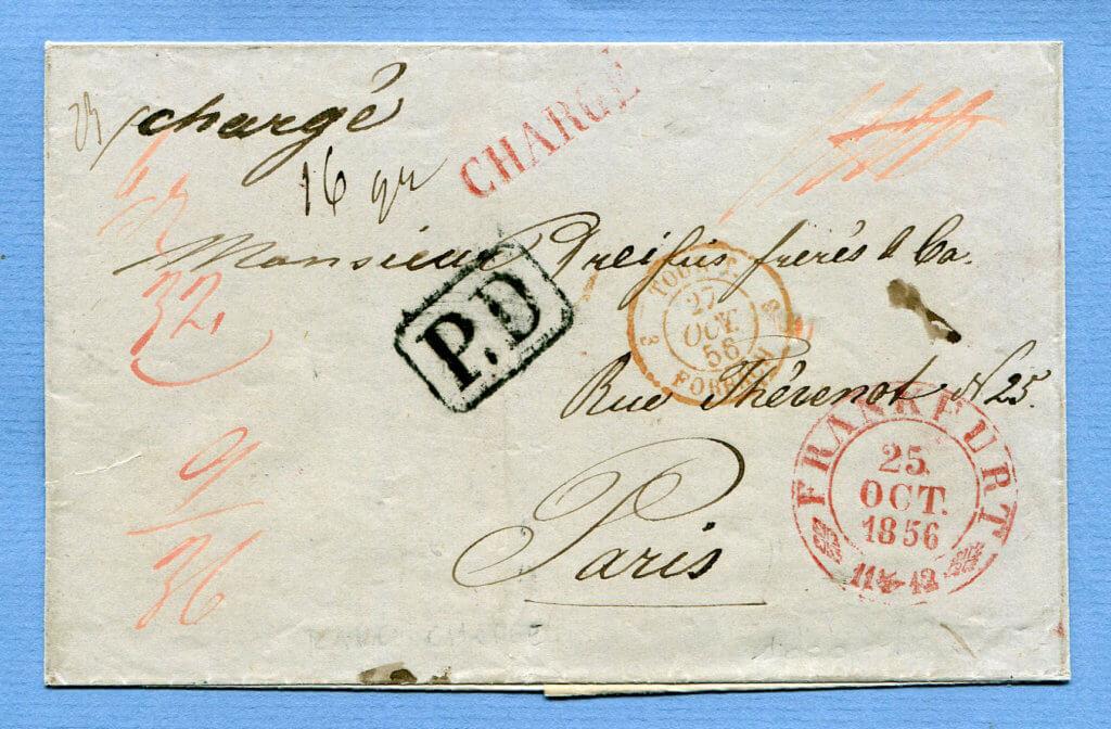 25.10.1856 – CHARGÉ BF. FRANKFURT => FORBACH => PARIS – sehr dekorativ