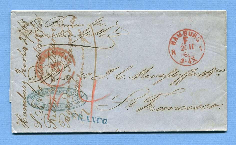 2.11.1868 – Hamburg => New York => San Francisco (USA) – (L1) FRANCO