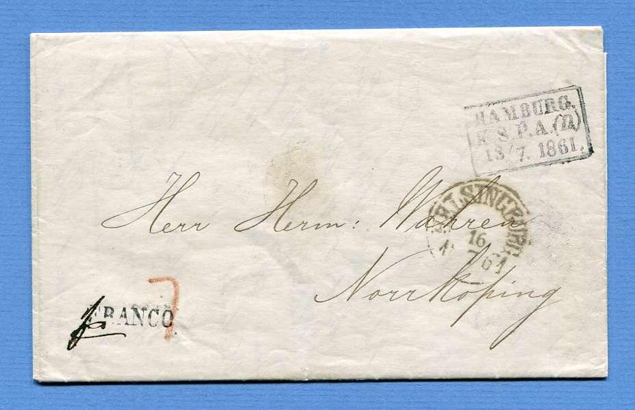 9.7.1861 – Newcastle upon Tyne (England) => Hamburg => Helsingborg => Nyköping (Schweden)