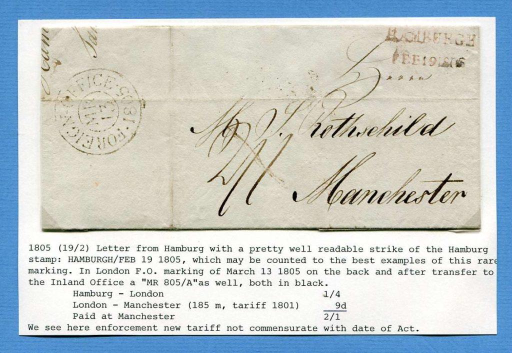 19.2.1805 – Hamburg => Manchester (England) – ex. Slg. C. Muys
