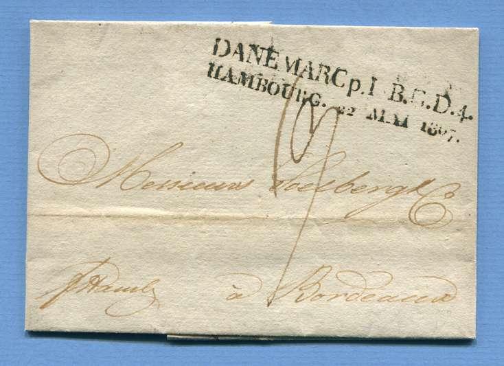 19.5.1807 – Kopenhagen (Dänemark) => Hamburg => Bordeaux (Frankreich) – Franko HAMBURG