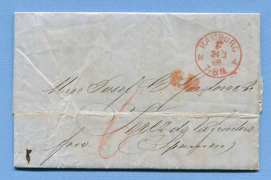"""24.3.1869 – Hamburg => Jerez de la Frontera (Spanien) – """"F"""" Stpl. von Hamburg"""