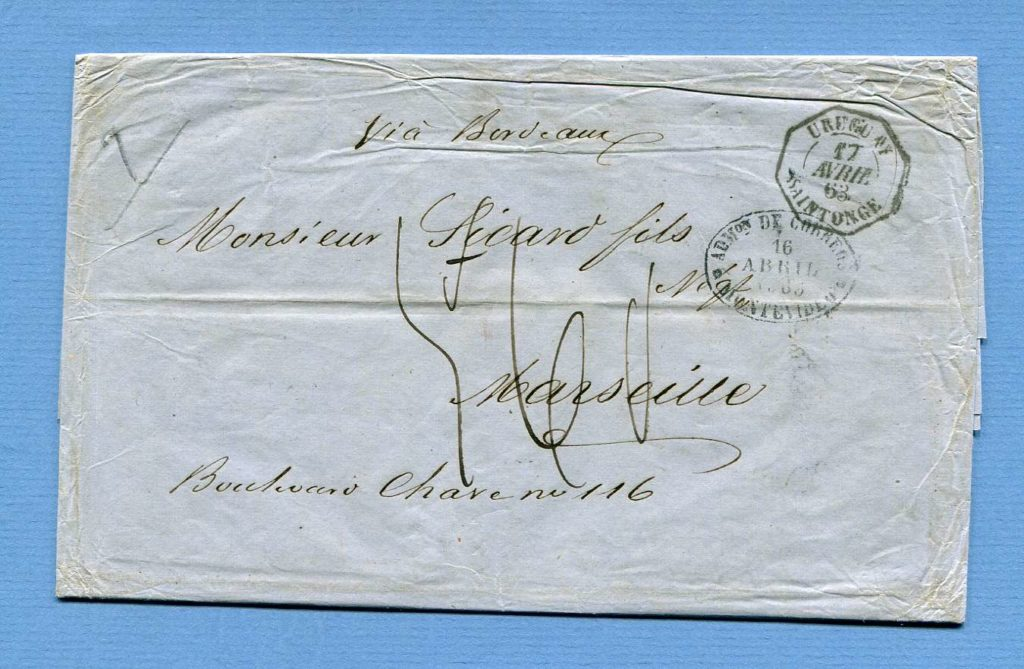 16.4.1863 – Montevideo => Bordeaux => Marseille (Frankreich) – 7-fache Porto