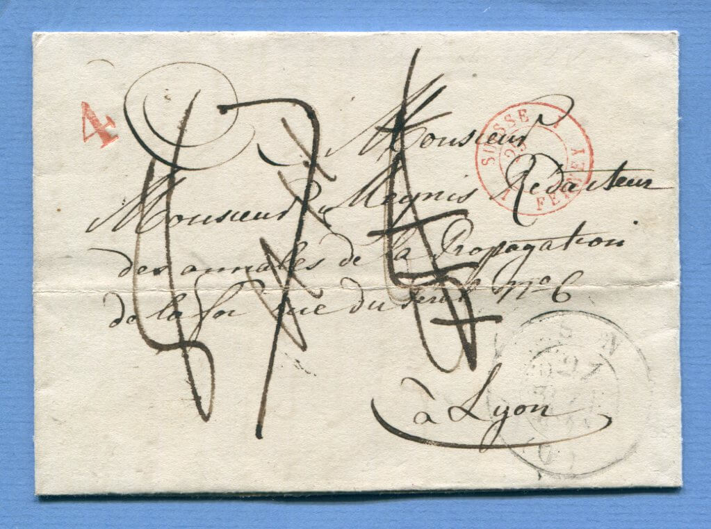 "27.6.1840 – Sion / Sitten => Ferney => Lyon (Frankreich) – ohne ""LV 10 K."" Stempel"